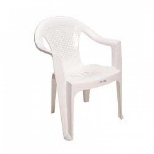 Καρέκλα Πλαστική HERMES Λευκή (KPH-06W) Έπιπλα Κήπου-Βεράντας
