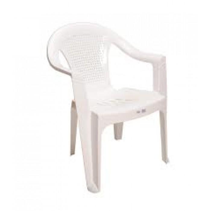 Καρέκλα πλαστική HERMES  Λευκή έπιπλα κήπου-βεράντας  Έπιπλα Κήπου