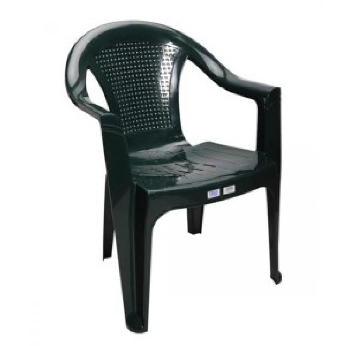 Καρέκλα πλαστική HERMES  Πράσινη, έπιπλα κήπου-βεράντας  Έπιπλα Κήπου