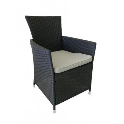 Πολυθρόνα  Αλουμινίου Bostonian Rattan Μαύρο E6706.2