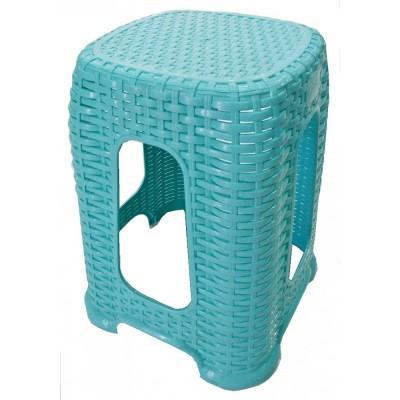 Σκαμπό πλαστικό τύπου Rattan ΓΑΛΑΖΙΟ, κήπου-βεράντας .