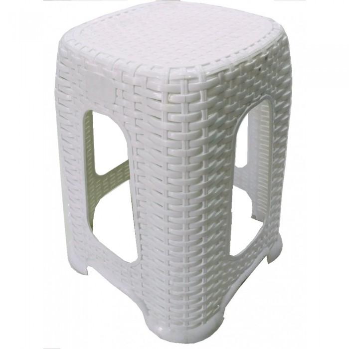 Σκαμπό πλαστικό τύπου Rattan ΛΕΥΚΟ, κήπου-βεράντας . Έπιπλα Κήπου