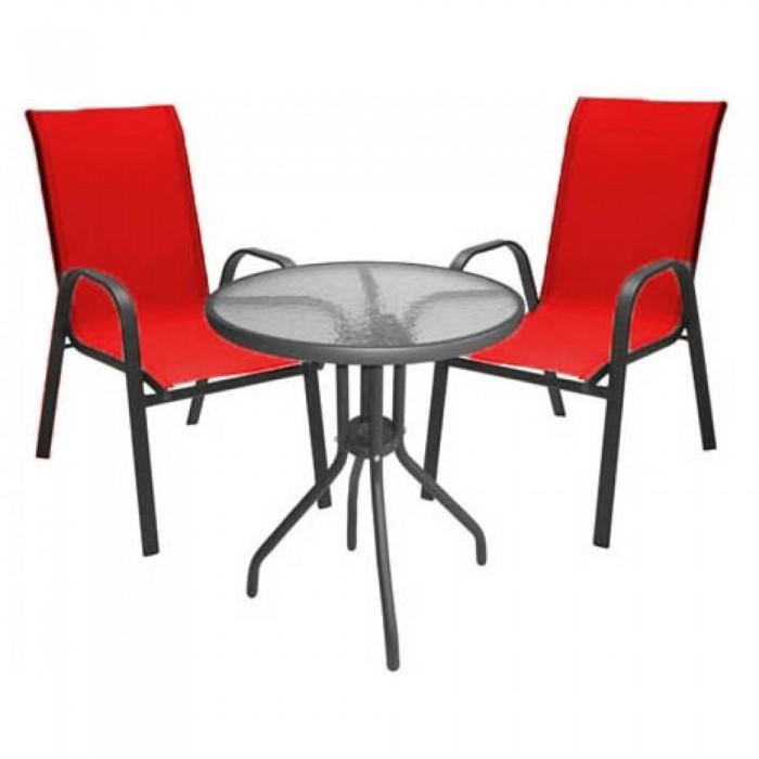 Σετ Τραπεζαρία 3τμχ ,Τραπέζι Φ60 Vienna  με δυο καρέκλες Riviera  Έπιπλα Κήπου
