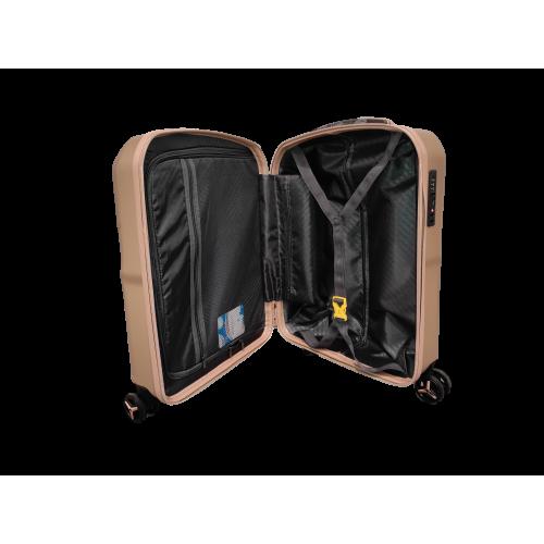 Σετ 3 Βαλίτσες Ταξιδιού ABS με Τηλεσκοπικό Χερούλι, Ροδάκια και Κλείδωμα Ασφαλείας σε Μπεζ χρώμα - be19187