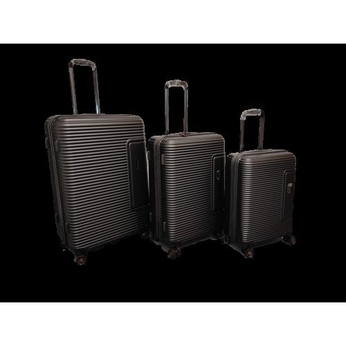 Σετ 3 Βαλίτσες Ταξιδιού ABS με Τηλεσκοπικό Χερούλι, Ροδάκια και Κλείδωμα Ασφαλείας σε Καφέ χρώμα - br19193