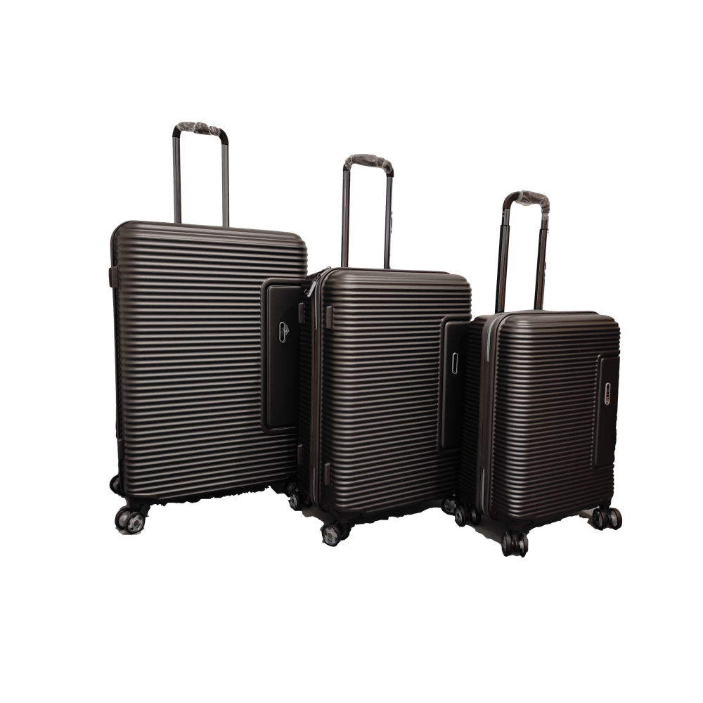 Σετ 3 Βαλίτσες Ταξιδιού ABS με Τηλεσκοπικό Χερούλι, Ροδάκια και Κλείδωμα Ασφαλείας σε Γκρι χρώμα - gr19193